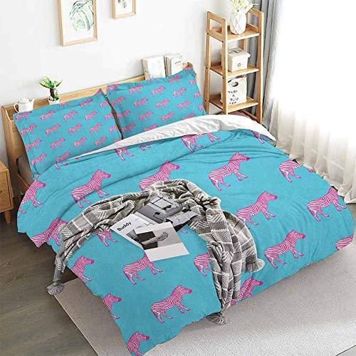 Aishare Store - Juego de funda de edredón (3 piezas, incluye 2 fundas de almohada, diseño de cebras Savannah, diseño de tierras exóticas y artísticas), color azul, rosa y blanco