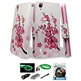 LG Tribute HD Case, LG X Style Case, LG Volt 3 Case, PU Leather Wallet Flip Protective Case Cover with Card Slots and Stand For LG Volt 3 / LG Tribute HD (Pink Bloom)