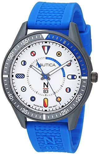 Nautica N83 Men's NAPSPS903 Surf Park Blue/White Silicone Strap Watch