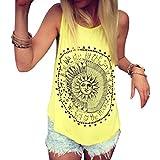 Mujer Camiseta,Sonnena Patrón de Sol Estampado sin Manga Camiseta para Mujer y Chica Joven Casual Sexy Traje de Verano Fresco para Citas Actividades al Aire Libre (S, Amarillo)