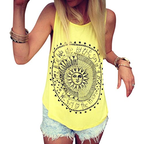 Mujer Camiseta,Sonnena Patrón de Sol Estampado sin Manga Camiseta para Mujer y Chica Joven Casual Sexy Traje de Verano Fresco para Citas Actividades al Aire Libre (M, Amarillo)