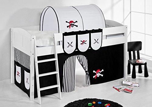 Lilokids Spielbett IDA 4106 Pirat Schwarz Teilbares Systemhochbett weiß-mit Vorhang Kinderbett, Holz, 208 x 98 x 113 cm