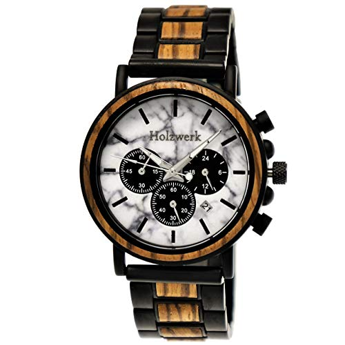 Handgefertigte Holzwerk Germany® Designer Herren-Uhr Öko Natur Holz-Uhr Chronograph Armband-Uhr Analog Quarz-Uhr Braun Weiß Schwarz Marmor Stein Datum Holz Ziffernblatt