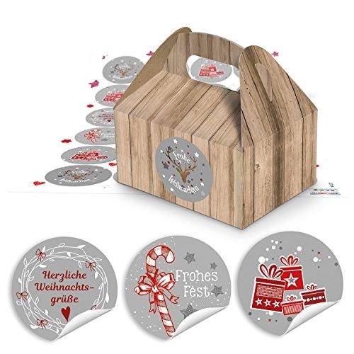 10 Weihnachten Geschenkkarton Natur braun Schachtel Geschenk weihnachtlich 9 x 12 x 6 cm + 24 rot grau weiß Weihnachtsaufkleber - Verpackung Weihnachtsgeschenke Kunden give-away