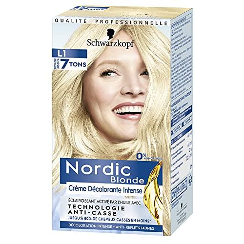 Nordic Blonde - Décoloration Cheveux Intense - Sans Amoniaque - Huile OmégaPlex Anti-Casse - Crème Décolorante Intense L1 - Anti Reflets Jaunes