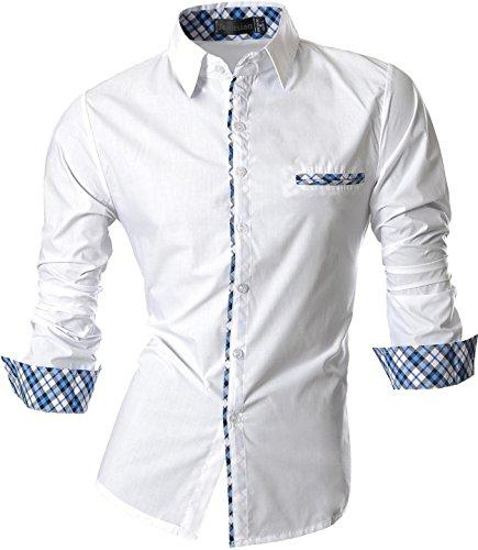 jeansian Herren Freizeit Hemden Slim Long Sleeves Casual Shirts Dress Shirts Tops (USA XL, Z020_White)