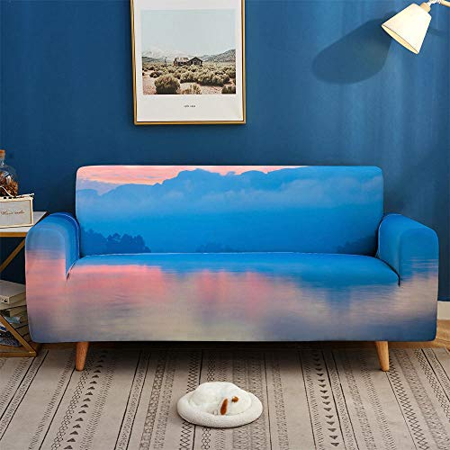 HXTSWGS Protectoras de Muebles,Scenery 3D Sofa Cover, Elastic Stretch Sofa Cover, 1/2/3/4 Seater Sof Slipcover Couch Covers for Livingroom-2-seater 145-185cm_