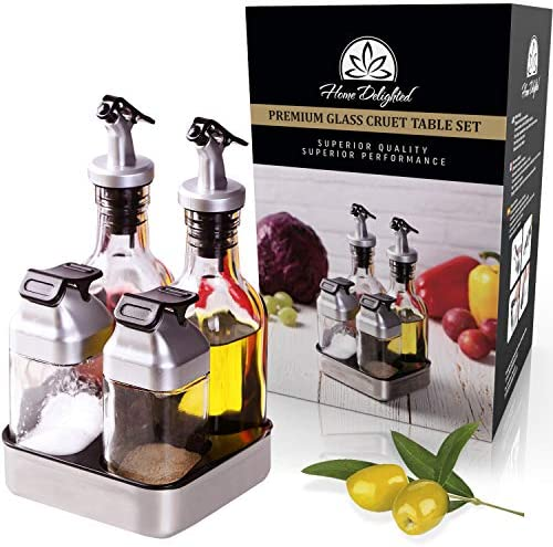 Premium Oil Vinegar Salt Pepper Dispenser Set in Caddy with Leak Proof Covered Spout 6pc Salt product image