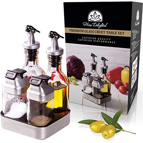 Juego de dispensador de aceite de oliva y vinagre de alta calidad con mesa de sal y pimienta en el cajón, 6 oz de vidrio y salero de 3 oz – a prueba de fugas, tapa cubierta...