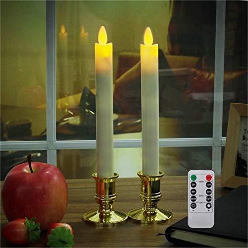 ZDAMN Led-bureaulamp, op batterijen, afstandsbediening, led-vlamloze kaars, tafellamp, 2 stuks
