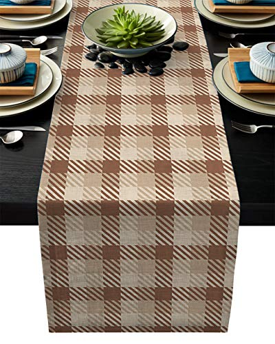 ABCrazy Dining Table Runner 18 x 72inch, Brown Beige Check Durable Table Covers Decoration for Family Dinner Kitchen Patios Coffee Table Everyday Use Tablecovers Autumn Theme