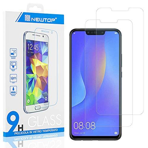 N NEWTOP [2 Pezzi] Pellicola GLASS FILM Compatibile per Huawei P Smart Plus, Fina 0.3mm Durezza 9H in Vetro Temperato Proteggi Schermo Display Protettiva Anti Urto Graffio Protezione
