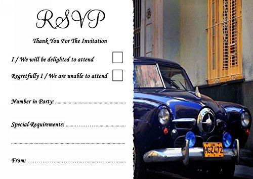 Cuba blauwe Cubaanse auto gepersonaliseerde bruiloft of partij RSVP kaarten 200 RSVP Cards Blauw