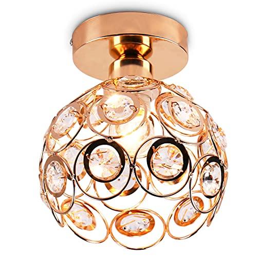 Mini lámpara de techo araña de cristal lámpara de techo de montaje semi empotrado accesorio de iluminación de techo moderno para pasillo cocina escalera de dormitorio Isaland, E26,Dorado
