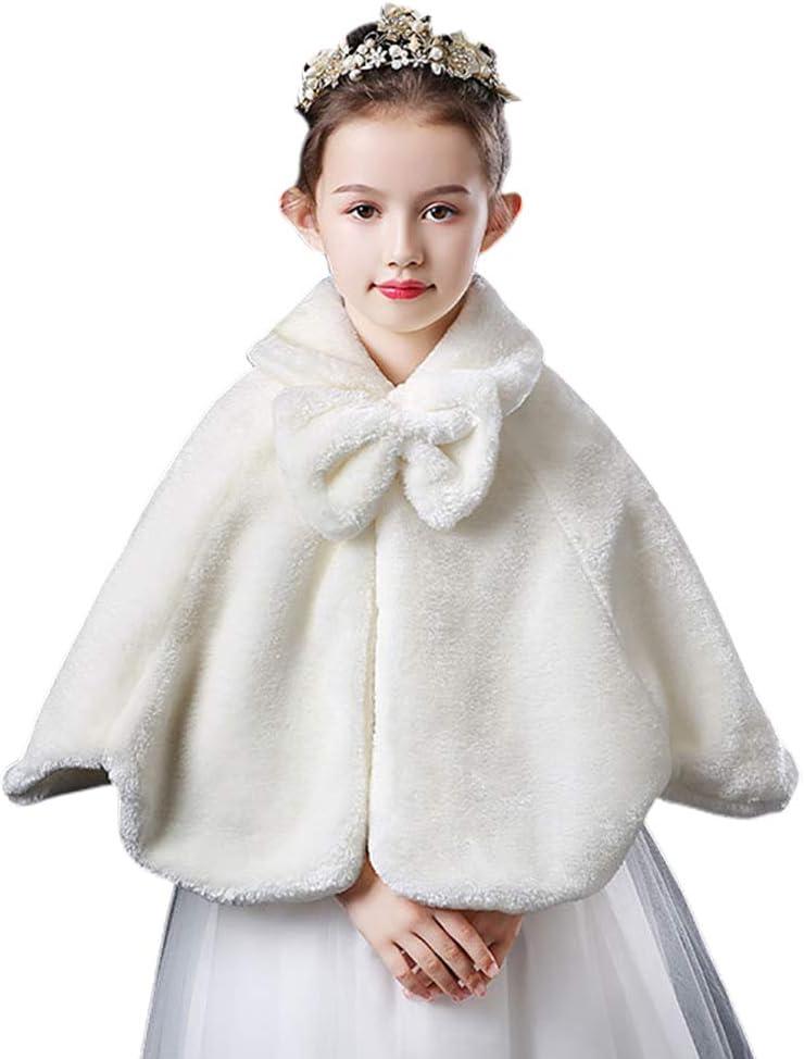 SANGHAI Girl Shawl Flower Girls Winter Soft Plush Bolero Shrug, Princess Lapel Bowknot Shoulder Cape White L