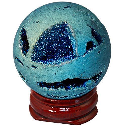 Nupuyai - Esfera de cristal de ágata con revestimiento de titanio, de cuarzo y piedras preciosas, con soporte de madera, azul claro, 4 x 4 cm