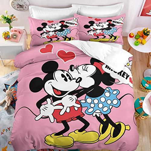 YuanLu 3D-Bettwäsche-Set Micky und Minnie für King-Size-Betten, Mikrofaser und Polyester, Rosa, 3-teilig
