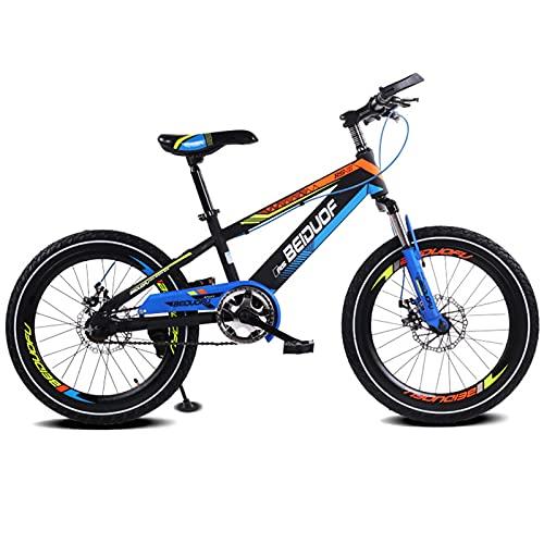 Brave Bicicleta para Niños Freestyle De 16'18' 20', Velocidad Única, Pintura Cromada Cool Oil Slick De 8 Capas, Cuadro Y Horquilla De Aluminio Ligero, ¡Fácil De Montar!,Azul,18 Inch