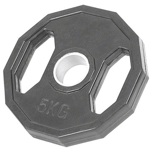 Sport-Tec Olympia Hantelscheibe mit Gummüberzug und Griff, Gewichte, 1x Stück: 5 kg
