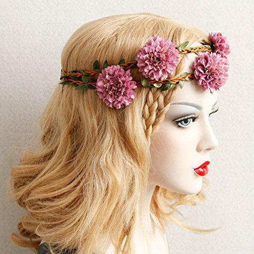 prettyia accessori per capelli della Matrimonio di Fiori nuziale corone copricapo della benda gialla rosa