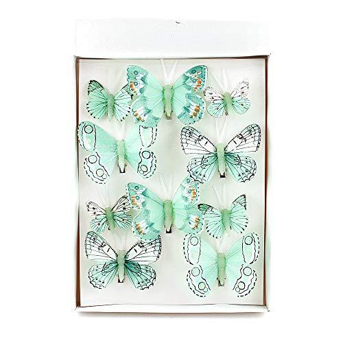 TGG 10 Stück Schmetterlinge Mix mit Clip 2 Größen Sortiment Mint Feder !!!