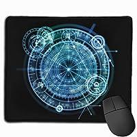 マウスパッド オフィス 最適 ハレーション ブラック ブルー コンパス 神秘 ゲーミング 光学式マウス対応 防水性 耐久性 滑り止め 多機能 標準サイズ25cm×30cm