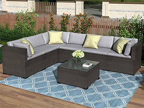 LZ LEISURE ZONE 7-Piece Patio Furniture Set, Outdoor Wicker Sectional Sofa Set, Patio Conversation Set with Coffee Table & Cushions (Black)
