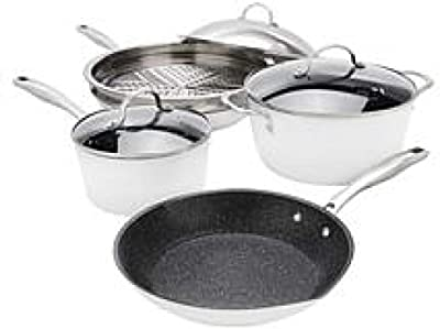 Curtis Stone Dura-Pan Nonstick 8-piece Essential Cookware Set - White