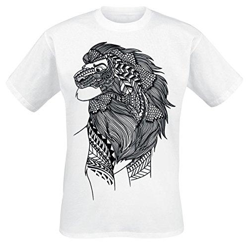 Der König der Löwen Lion Ink Herren T-Shirt Weiß, Größe:XXL