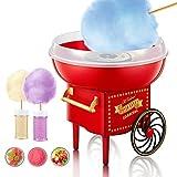 Maquina de Algodon de Azucar 500W Retro Cotton Candy Machine, Ideal Para Fiestas de Cumpleaños de Niños, Incluye Cuchara Medidora y 10 Palos.