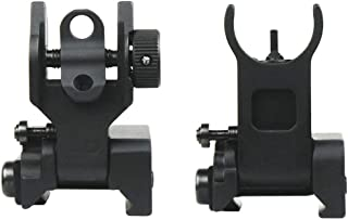 West Lake Flip Up Iron Sight Front Rear Sight Fits Picatinny Rail and Weaver Rail of Rifle, Foldable Flat-top Co-Witness Sights