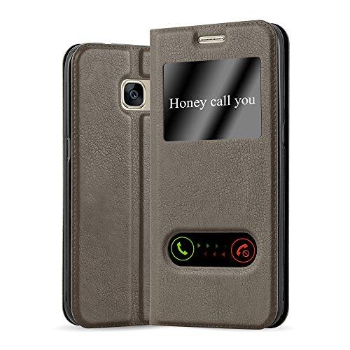 Cadorabo Hülle für Samsung Galaxy S7 in Stein BRAUN – Handyhülle mit Magnetverschluss, Standfunktion & 2 Sichtfenstern – Hülle Cover Schutzhülle Etui Tasche Book Klapp Style