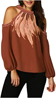 ⭐Longday⭐ Womens Casual Chest Cutout Top Long Sleeve T Shirt Halter Blouse Print Shirt Loose Off Shoulder Tunic Flowy