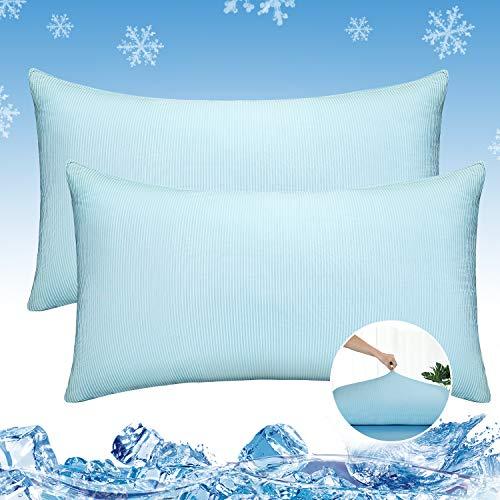 Luxear kühlender Kissenbezug 2er Set, Kissenhülle weichdünn atmungsaktiv mit Reißverschluss, seidige Kissenbezüge Haare/Haut schonend für Schlafzimmer Sofa Deko, 40 x 80 cm- Blau/Weiß