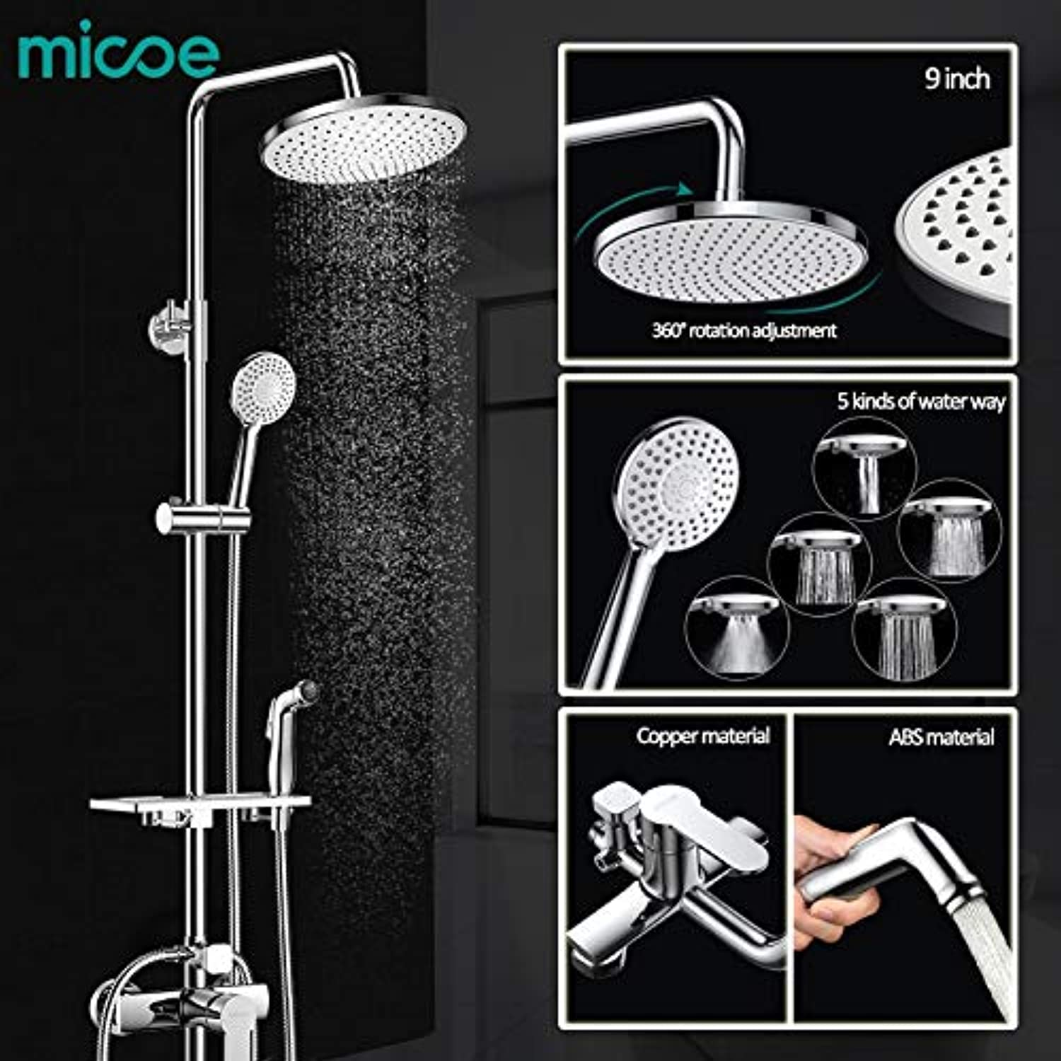 Micoe Brass Thermostatic Water Rainfall Shower Set Faucet + Tub Mixer Tap + Handheld Shower Wall +damen wash faucet M-A0082,Weiß
