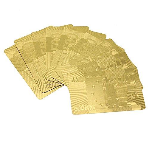 VANKER Wasserdicht Neue Luxus-24K Goldfolie Poker 54 Spielkarten Casino Tabelle Spiel Euro