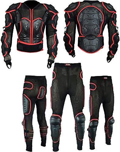 Heren Motor Motor Volledige Rug Body Armour Bescherming Motocross Beschermende Guard Jas Dragen & Beschermende Biker Broek Pak Taille - 34 tot 37/Borst -40 tot 46-2XL/3XL