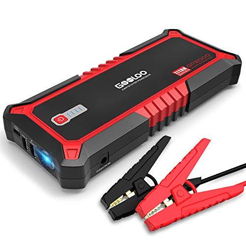 GOOLOO Auto Starthilfe Powerbank,2000A/19800mAh Tragbare starthilfegerät für 12V Fahrzeuge (bis zu 10.0L Benzin 7.0L Dieselmotor), Autobatterie Anlasser mit Quick Charge 3.0, LED Taschenlampe