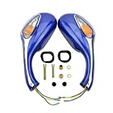 GOOFIT 8mm Motorcycle Rear View Mirror for GY6 50cc 125cc 150cc 250cc Scooter Moped Blue