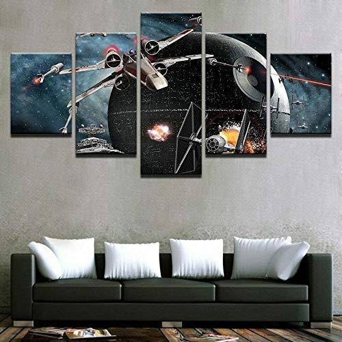 45Tdfc Cuadro En Lienzo 5 Piezas Pintura Aviones Star Wars Death Star Movie Moderno Fotos Material Te Jido No Tejido Arte Pared DecoracióN HogareñA ImpresióN