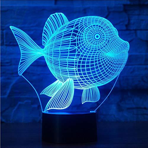 Mmzki Pescado Forma 3D Visual Nightlight 7 Colores Cambiantes Led-Tischplatte Goldfish-Hintergrund Mit Hintergrundbeleuchtung Dekoratives Hintergrundbild Für Das Hogar Regalos