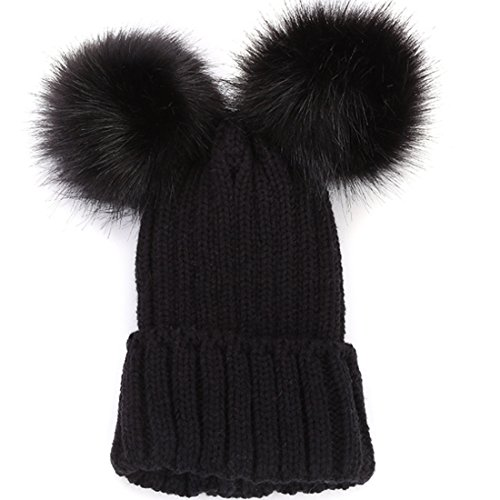 KUYOU Damen Maus Ohren Mütze Skull Knit Wool Cap - Schwarz - Einheitsgröße