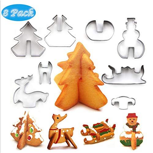 Yolistar 8 Piezas Moldes para Galletas Navidad, 3D Juego De Cortadores De Galletas De Navidad, Acero Inoxidable...
