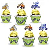 Cars Cupcake Decorations Toppers and Wrappers with Firetruck Truck Jeep for Boys Girls Birthday Party Baby Shower Set of 12