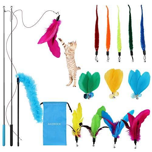 AKEROCK 16 Stück Katzenspielzeug Federspielzeug, interaktives Katzen Spielzeug, 12 Stück Katzenangel Ersatz mit Glocken Federspielzeug und 2 Skalierbar Stangen 1 Feder Teaser, mit Aufbewahrungstasche