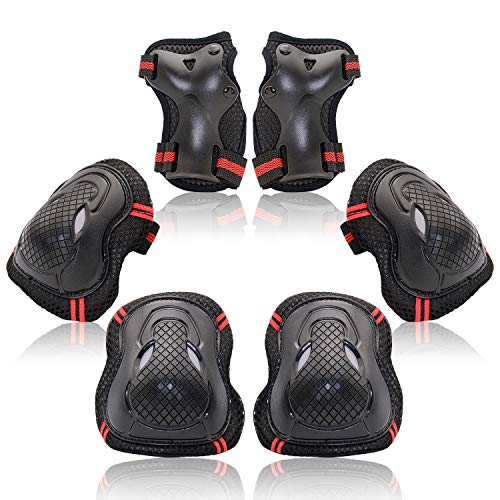 Protective Gear Set for Kids Youth Adult, Knee Pads Elbow Pads Wrist Guards 6 in 1 for Skateboard, Rollerblade, Roller Skate, Bike, Scooter, Inline Skate, Bicycle, BMX (Red, Medium)