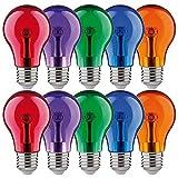 10 bombillas LED Paulmann con forma de pera, multicolor, 1 W, E27, transparente, rojo, violeta, azul, verde, naranja