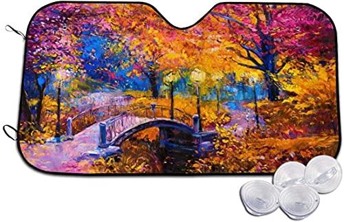 DAWN&ROSE Parasol para parabrisas de coche, divertido, colorido bosque otoñal, tamaño universal, plegable, bloquea los rayos UV para mantener tu vehículo fresco y libre de daños (51 x 27.5 pulgadas)