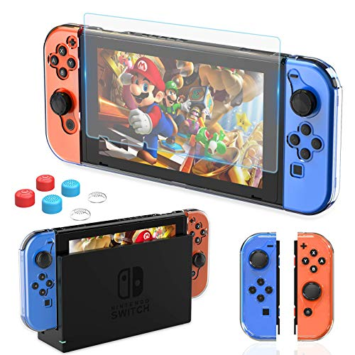 HEYSTOP Dockable Case Compatible with Nintendo Switch, Clear Protective Case Cover with a Tempered Glass Screen Protector and Thumb Stick Caps
