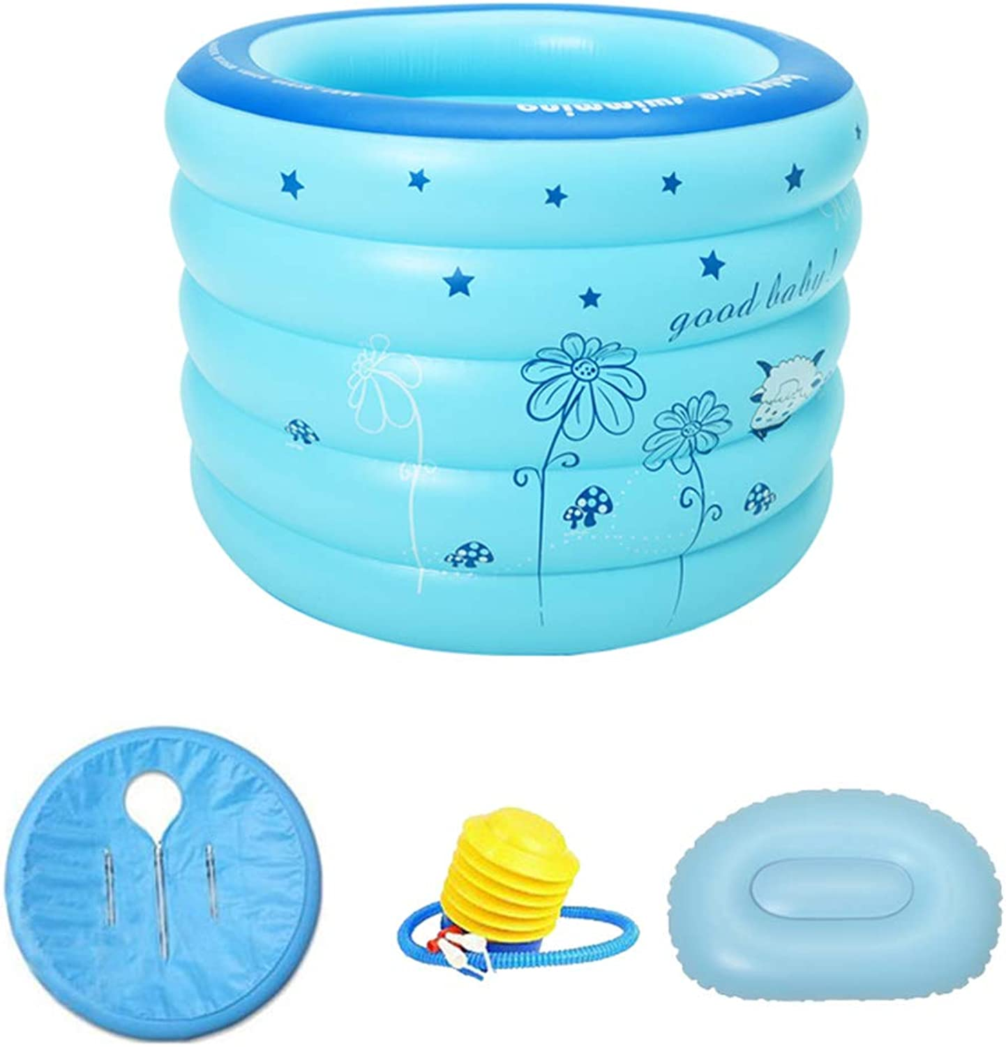ZQ Adult Kids Folding SPA Bathtub, Plastic Inflatable Bathtub for Toddler, Thickening independent 5 layers Inflated Bath barrel bluee-C